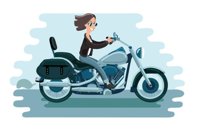 59834708 - motorcycle riding of driver woman concept